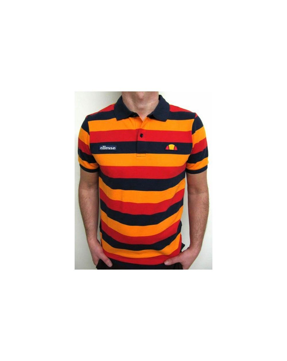 827290ccc6f Ellesse Grand Rousses Polo Shirt Navy/Orange/Red - Ellesse vintage ...