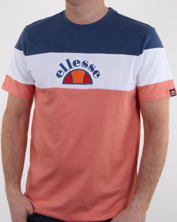 Ellesse Gubbio T Shirt Peach/White/Ensign Blue