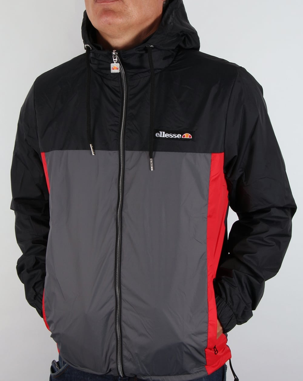 ellesse herens jacket black grey red rain windcheater coat mens. Black Bedroom Furniture Sets. Home Design Ideas