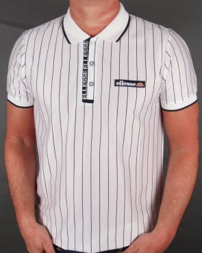 Ellesse Laz Strped Polo Shirt White