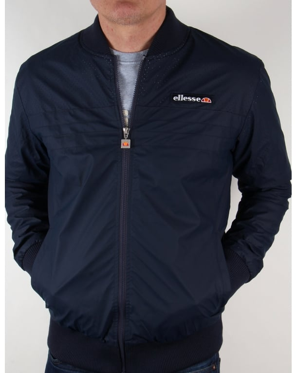 Ellesse leather look Bomber Jacket Navy