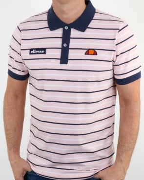 Ellesse Light Pink Navy Striped Polo Shirt