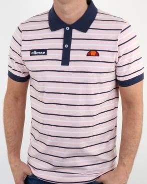 Ellesse Light Pink Navy Striped Polo Shirt