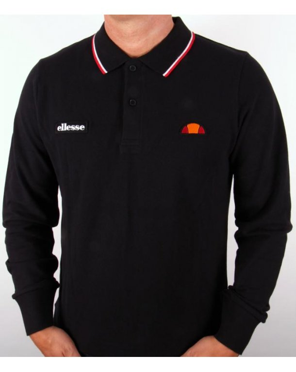 Ellesse Livorno Long Sleeve Polo Shirt Black