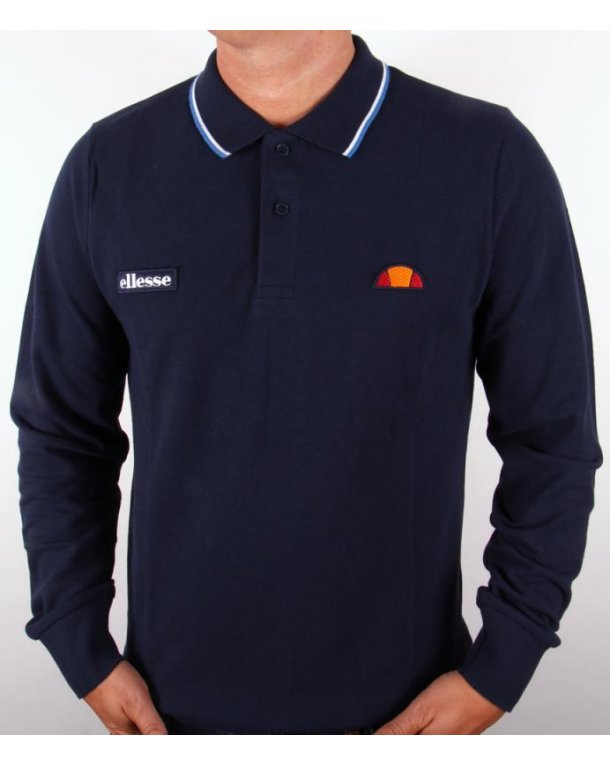 Ellesse Livorno Long Sleeve Polo Shirt Navy