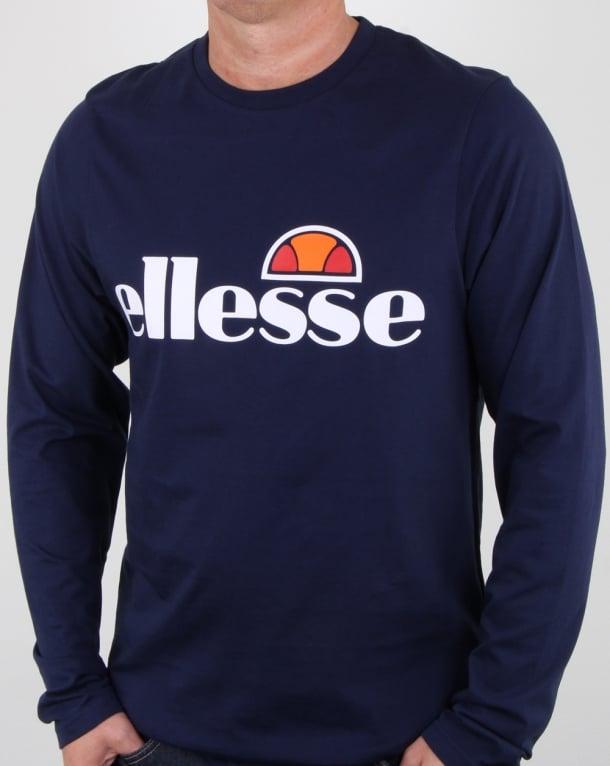 Ellesse Logo Long Sleeve T Shirt Navy