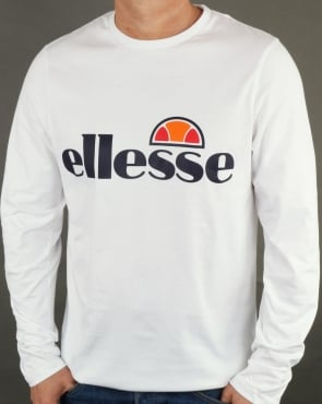 Ellesse Logo Long Sleeve T Shirt White