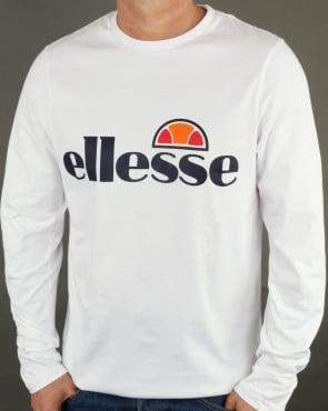 Ellesse Logo Long Sleeve T Shirt White