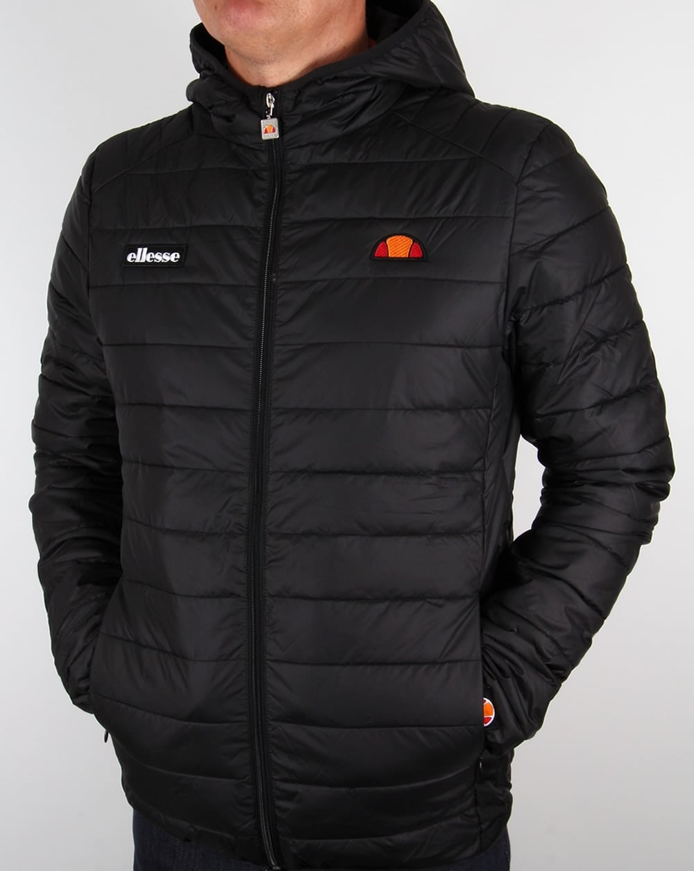 ellesse lombardy jacket black bubble hooded puffer ski coat mens