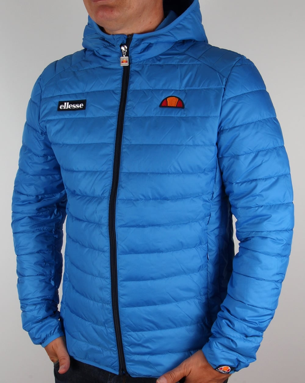 ellesse lombardy blue jacket bubble hooded french puffer ski coat. Black Bedroom Furniture Sets. Home Design Ideas