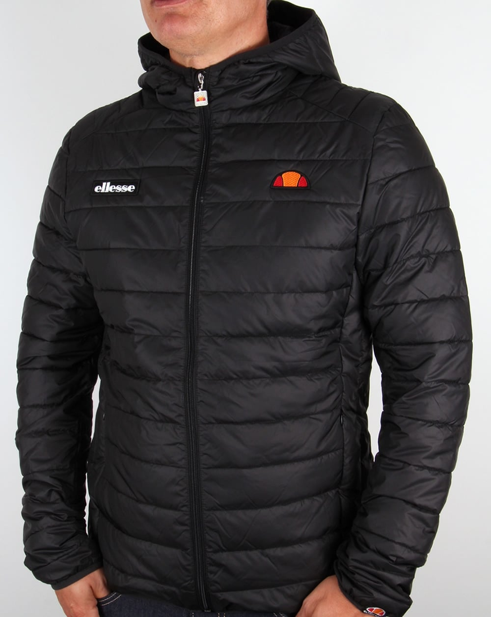 Ellesse Lombardy Puffer Jacket Black Padded 80s Casual