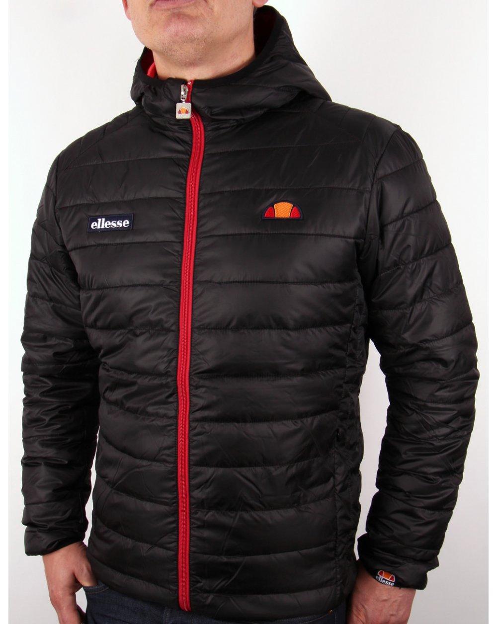 ellesse lombardy puffer jacket black padded coat. Black Bedroom Furniture Sets. Home Design Ideas