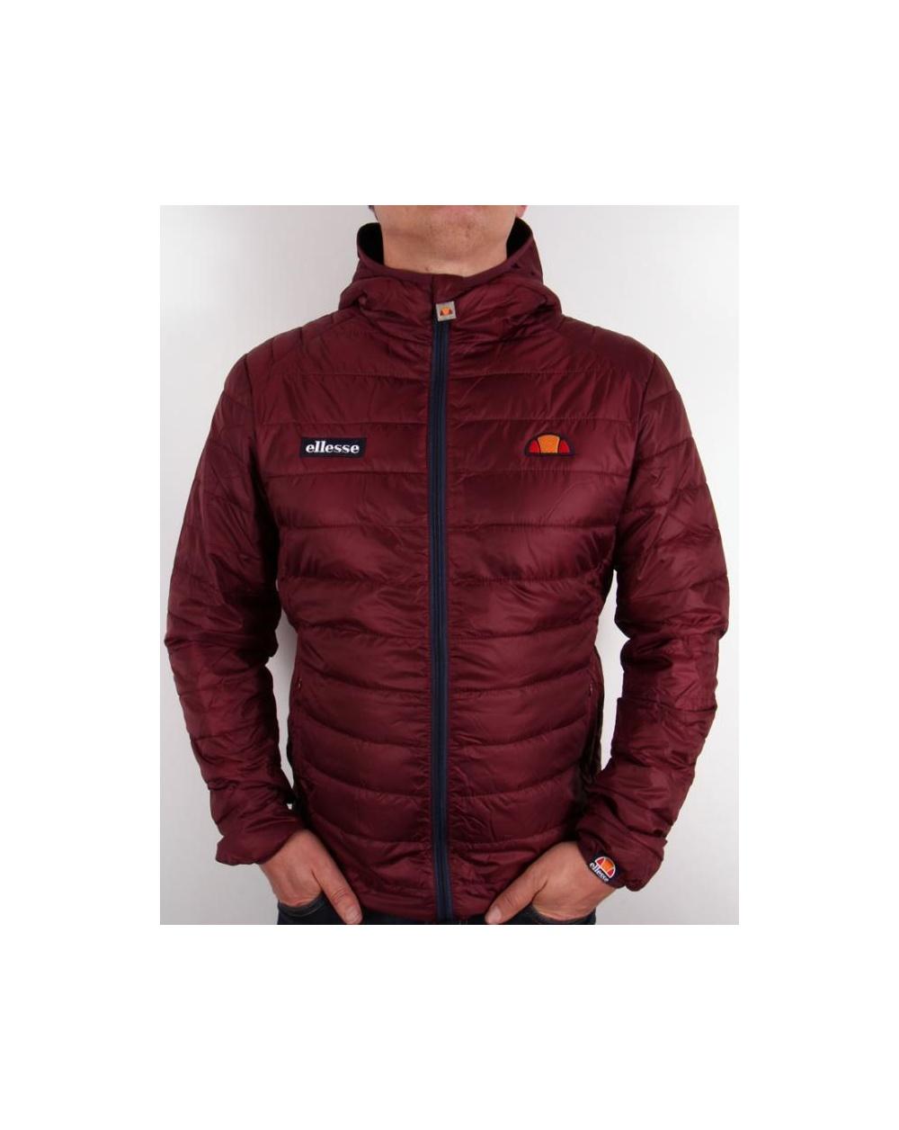 Ellesse lombardy puffer jacket burgundy puffa