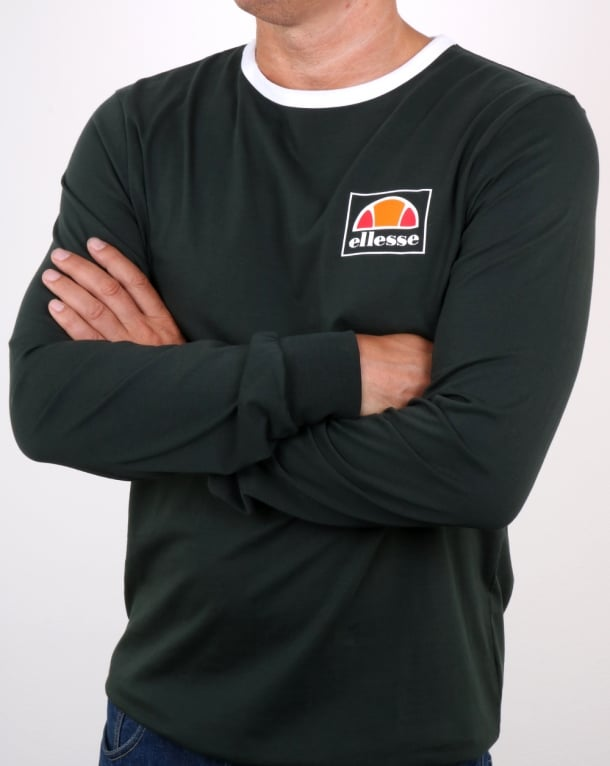 Ellesse Long Sleeve Ringer T Shirt Dark Green- White