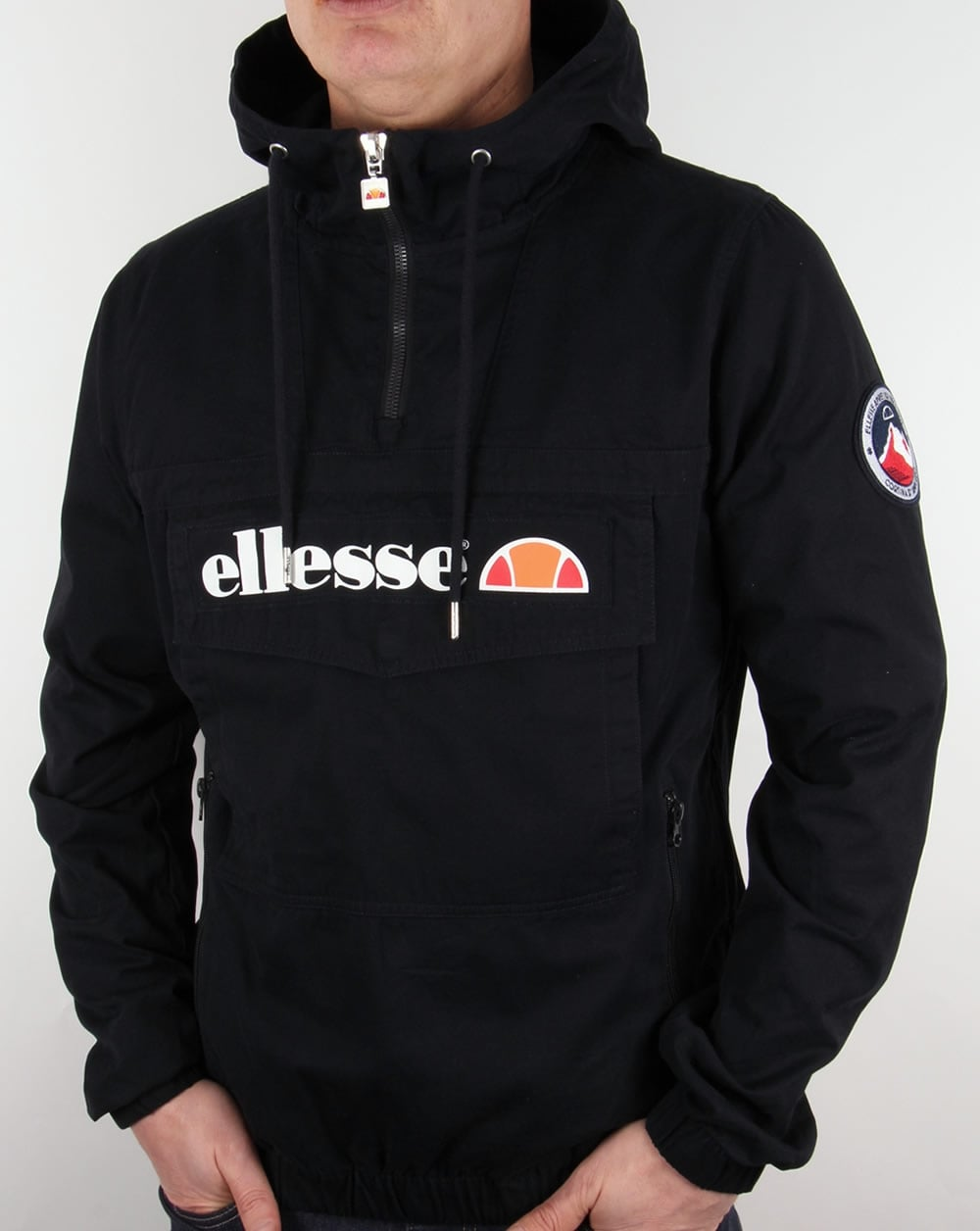 ellesse mont quarter zip jacket black smock coat overhead mens. Black Bedroom Furniture Sets. Home Design Ideas