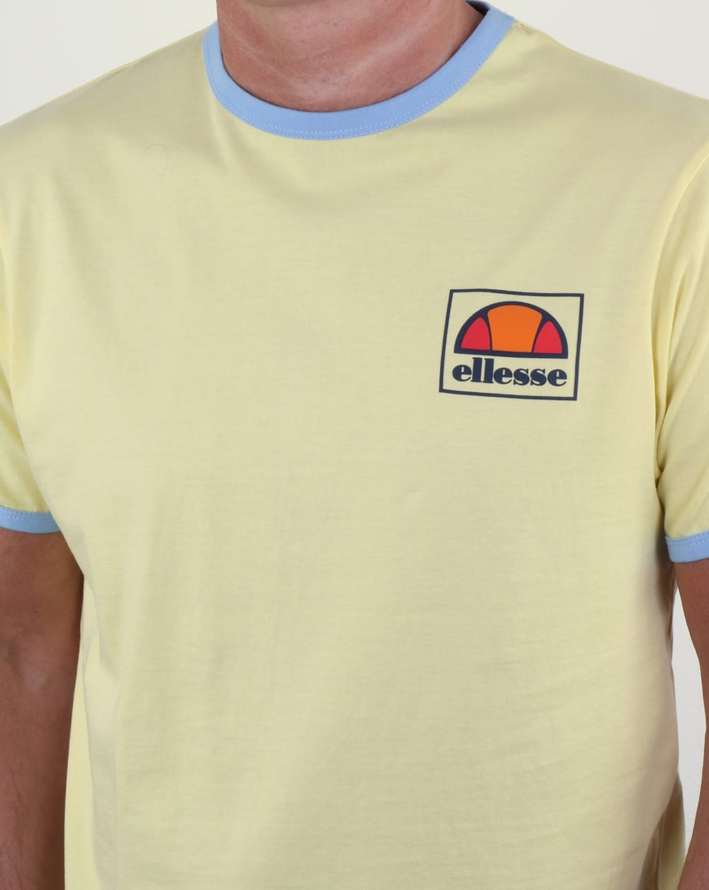 ellesse montefello ringer t shirt lemon yellow tee crew neck round mens. Black Bedroom Furniture Sets. Home Design Ideas