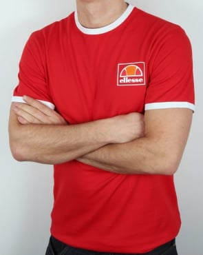 Ellesse Montefello Ringer T Shirt Red