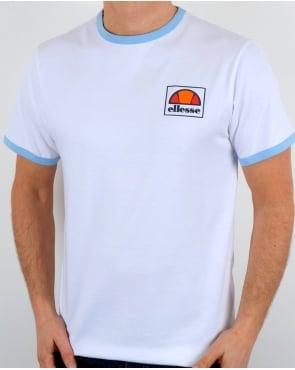 Ellesse Montefello Ringer T Shirt White/Sky Blue