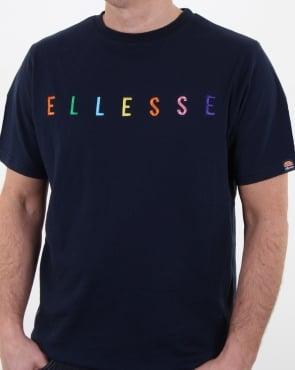 Ellesse Multi Colour Block Script T Shirt Navy