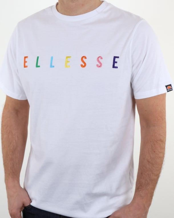 Ellesse Multi Colour Logo T Shirt White