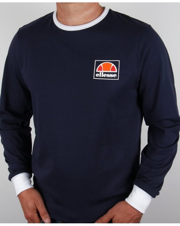 Ellesse Old Skool Long Sleeve Ringer T-shirt Navy