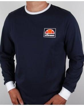 Ellesse Old Skool Long Sleeve Ringer T-shirt Navy