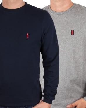 Ellesse Penguin Long Sleeve T Shirt 2 Pack Navy/Charcoal