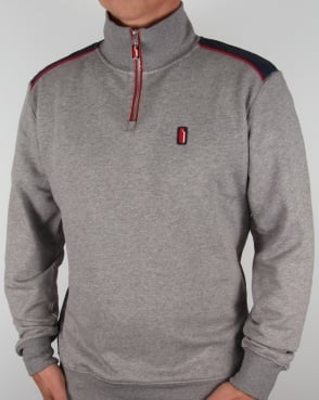 Ellesse Penguin Quarter Zip Sweat Jumper Charcoal Marl