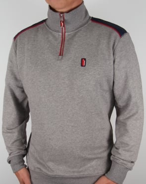 Ellesse Penguin Quarter Zip Sweat Jumper Charcoal