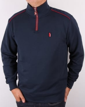 Ellesse Penguin Quarter Zip Sweat Jumper Navy