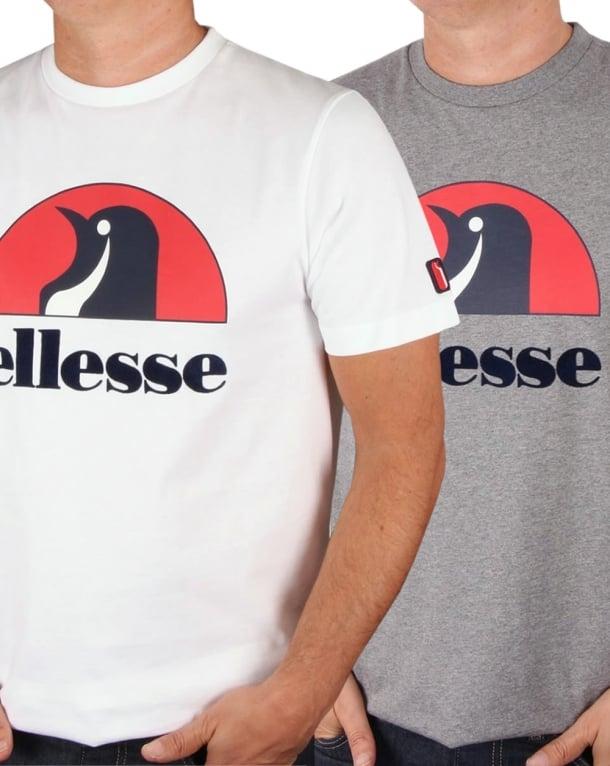 Ellesse Penguin Ski Logo T Shirt Twin Pack White & Grey