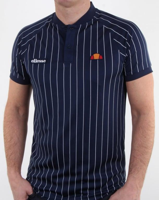 Ellesse Pin-Stripe Polo Shirt Navy