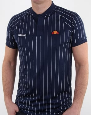 Ellesse Pin-Stripe Polo Shirt Navy