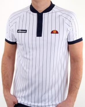Ellesse Pin-Stripe Polo Shirt White