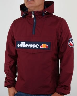 Ellesse Quarter Zip Overhead Jacket in Burgundy