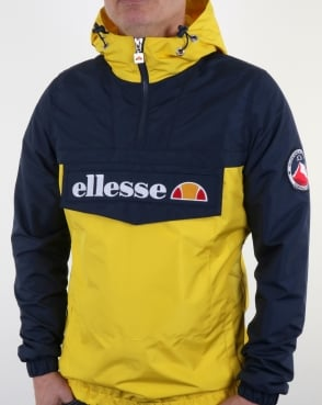 Ellesse Quarter Zip Overhead Jacket in Navy/Yellow