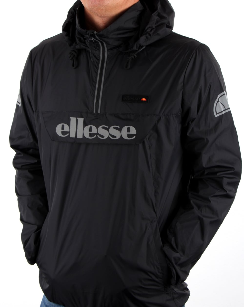 7ddb2162b Ellesse Ion Half Zip Jacket Black,Men's, Coat, Windrunner, Windbreaker