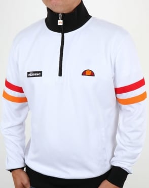 Ellesse Quarter Zip Roma Track Top White/Black