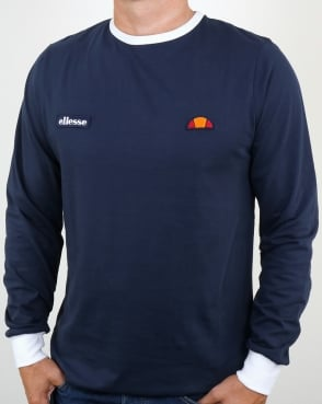 Ellesse Retro Long Sleeve Ringer T Shirt Navy
