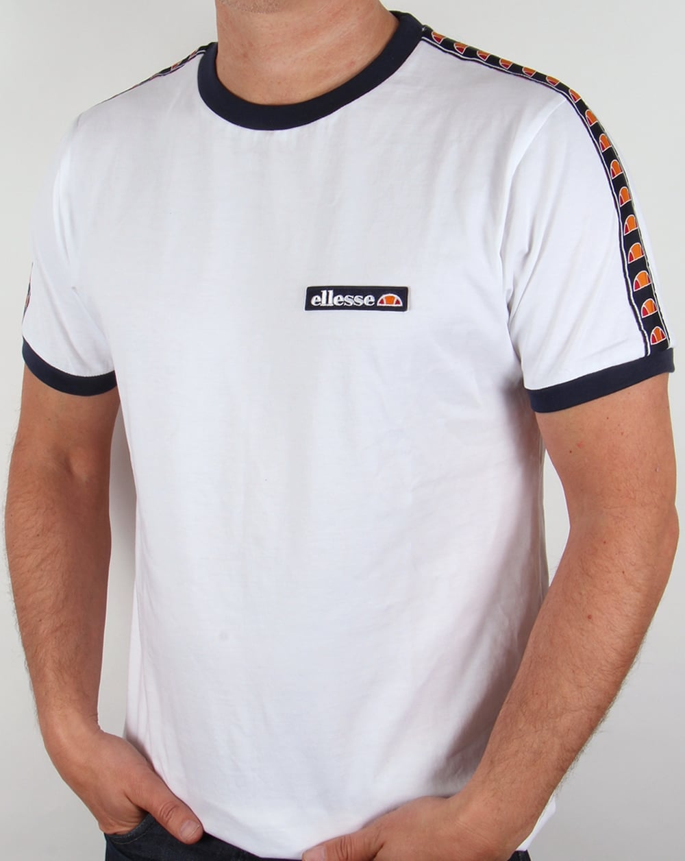 ellesse sarnano ringer t shirt white tee mens crew neck. Black Bedroom Furniture Sets. Home Design Ideas