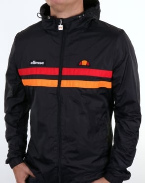 Ellesse Rimini Striped Rain Jacket Black/orange