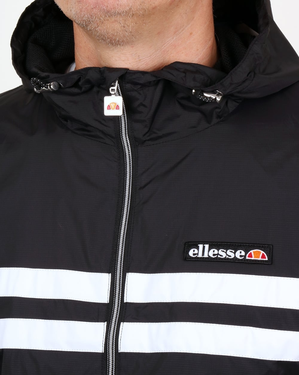 f35cff3ad Ellesse Rimini Striped Rain Jacket Black