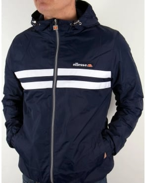 Ellesse Rimini striped rain Jacket Navy