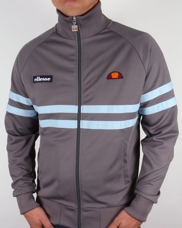 Ellesse Rimini Track Top Silver Grey and Sky