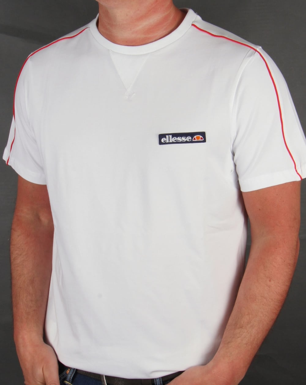 ellesse san ginesio t shirt white tee mens crew round neck. Black Bedroom Furniture Sets. Home Design Ideas