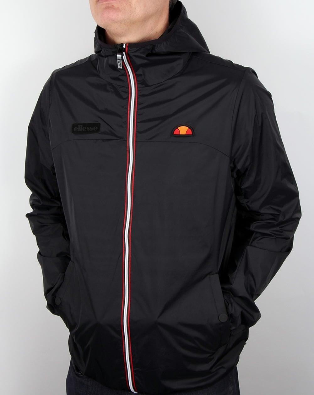 ellesse sirente jacket black hooded raincoat parka coat mens. Black Bedroom Furniture Sets. Home Design Ideas