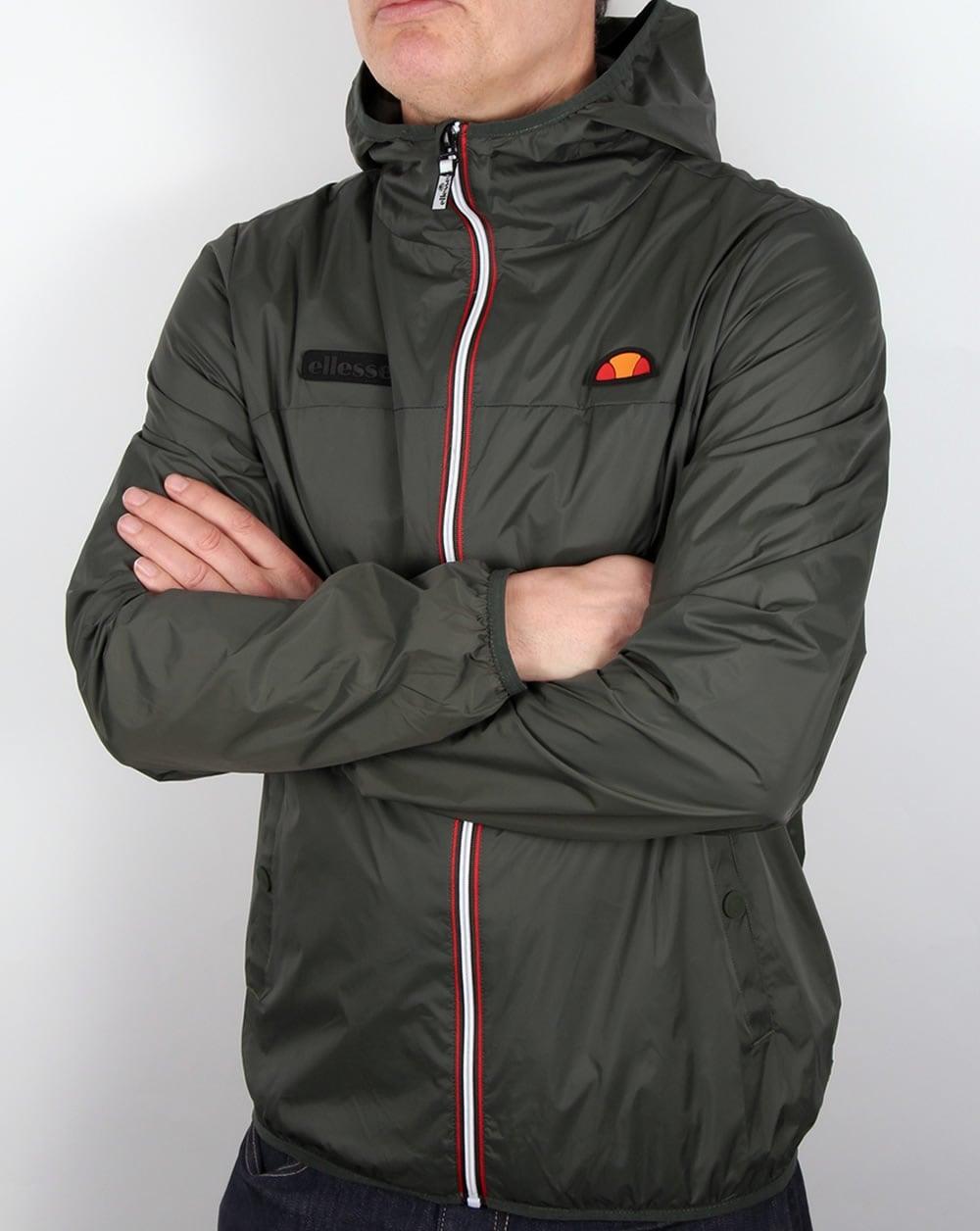 ellesse sirente jacket green khaki hooded raincoat parka. Black Bedroom Furniture Sets. Home Design Ideas