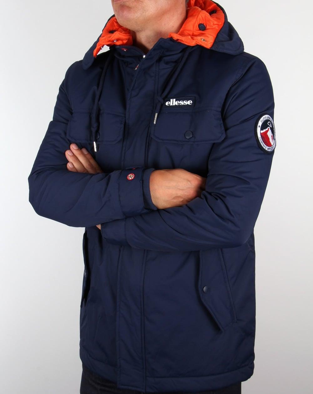 ellesse ski jacket navy dolomites parka hooded padded coat mens. Black Bedroom Furniture Sets. Home Design Ideas