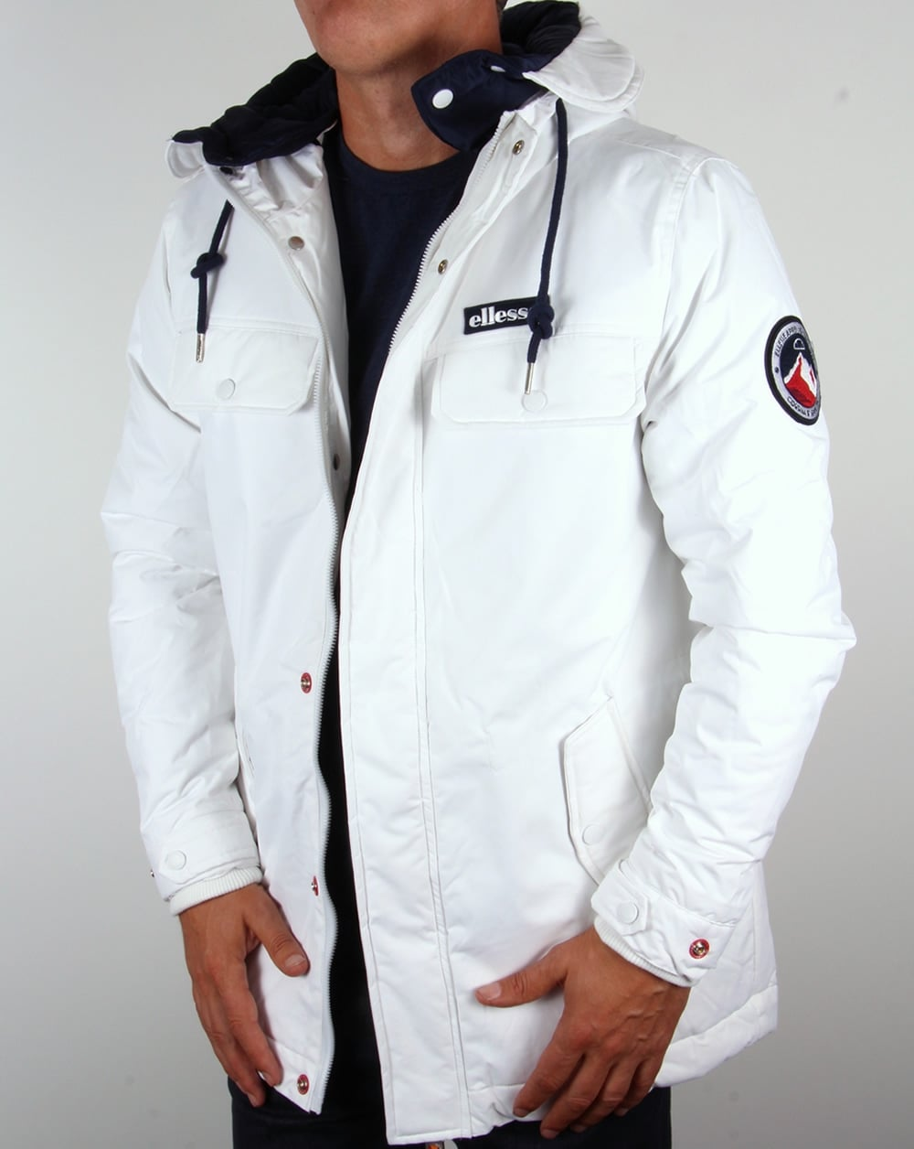 Ellesse Ski Jacket White Dolmites Padded Coat Parka Mens