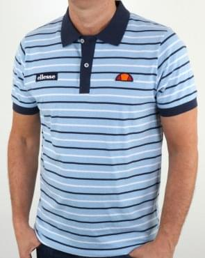 Ellesse Sky Blue Striped Polo Shirt
